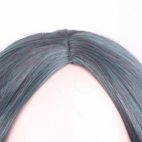 Cheap Gorgeous Black Ombre Blackish Green Long Synthetic Fluffy Wavy Middle Part Cosplay Wig For Women - OMBRE 1211#  Mobile