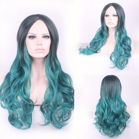 Outfits Gorgeous Black Ombre Blackish Green Long Synthetic Fluffy Wavy Middle Part Cosplay Wig For Women - OMBRE 1211#  Mobile