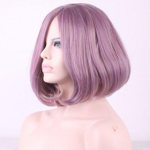 Cheap Two-Tone Mixed Short Synthetic Bob Style Straight Side Parting Cosplay Wig For Women - COLORMIX  Mobile