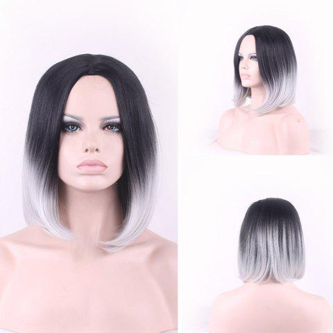 Trendy Bob Style Straight Tail Adduction Synthetic Fashion Black Gray Gradient Short Cosplay Wig For Women