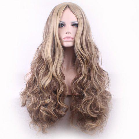 Sale Bouffant Curly Long Synthetic Trendy Light Blonde Mixed Brown Middle Part Cosplay Wig For Women - COLORMIX  Mobile