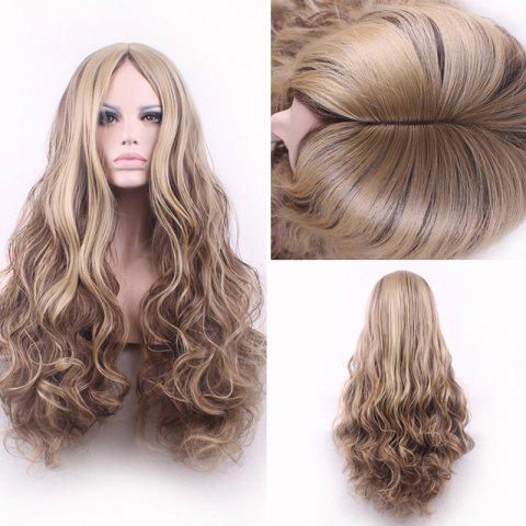 Cheap Bouffant Curly Long Synthetic Trendy Light Blonde Mixed Brown Middle Part Cosplay Wig For Women COLORMIX