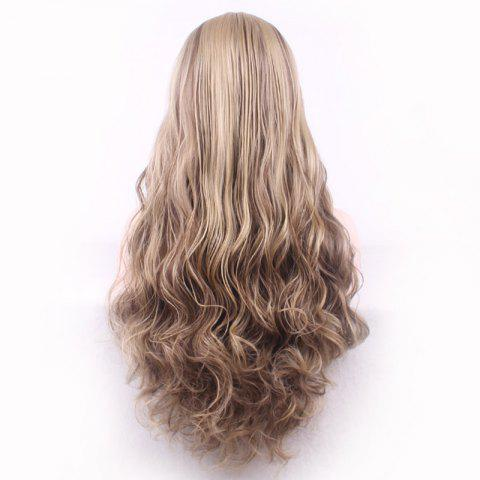 Online Bouffant Curly Long Synthetic Trendy Light Blonde Mixed Brown Middle Part Cosplay Wig For Women - COLORMIX  Mobile