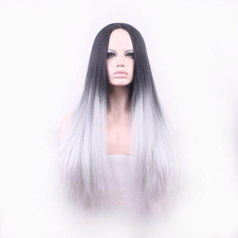 Online Attractive Long Straight Vogue Black Ombre Gray Middle Part Synthetic Cosplay Wig For Women - OMBRE 1211#  Mobile