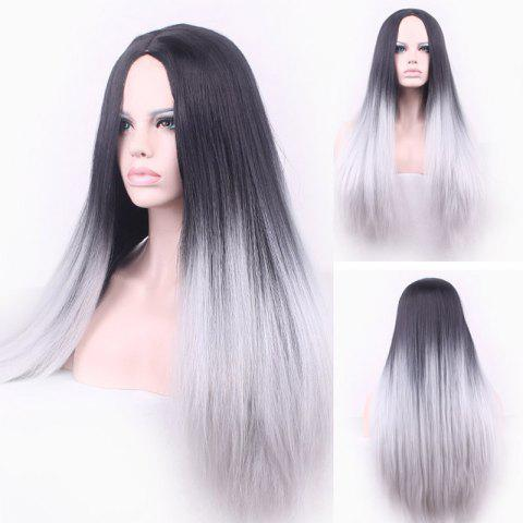 Sale Attractive Long Straight Vogue Black Ombre Gray Middle Part Synthetic Cosplay Wig For Women - OMBRE 1211#  Mobile
