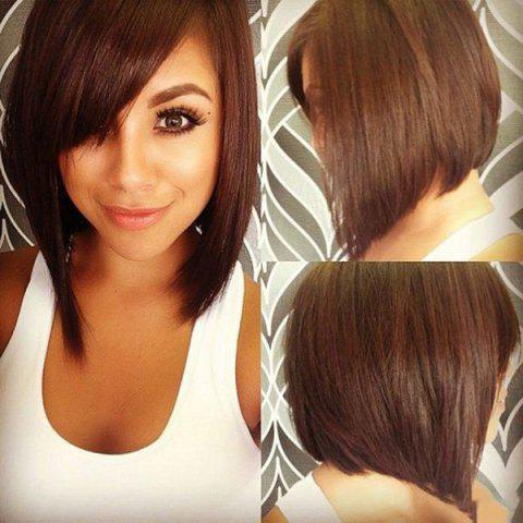 Outfits Bob Style Straight Dark Brown Capless Vogue Short Real Human Hair Wig For Women