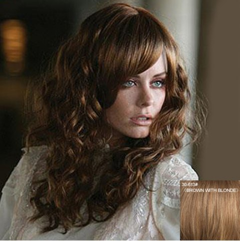 New Attractive Inclined Bang Capless Fluffy Curly Long Real Natural Hair Wig For Women