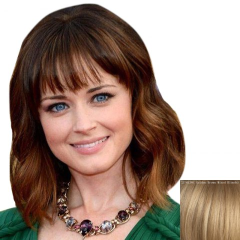 Online Stylish Full Bang Capless Shaggy Wave Medium Human Hair Wig
