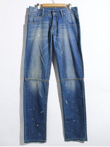 Cheap Cat's Whisker Paint Dot Fitted Straight Leg Jeans