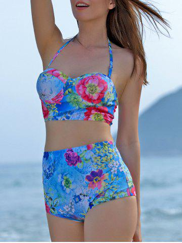 Buy High-Waisted Floral Print Bikini Swimsuit with Push Up Bra WATER BLUE M
