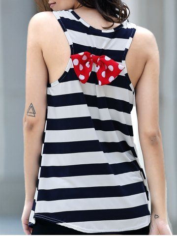 Online Polka Dot Bowknot Decorated Striped Tank Top BLACK M