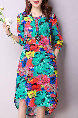 Outfits Colorful Ethnic Print Knee Length Dress