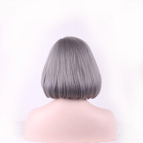 Online Prevailing Grandma Ash Short Synthetic Bob Style Straight Tail Adduction Cosplay Wig For Women - LIGHT GRAY  Mobile