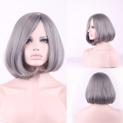 Unique Prevailing Grandma Ash Short Synthetic Bob Style Straight Tail Adduction Cosplay Wig For Women - LIGHT GRAY  Mobile