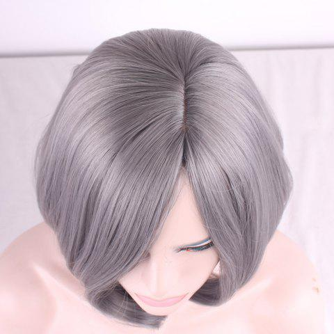 Discount Prevailing Grandma Ash Short Synthetic Bob Style Straight Tail Adduction Cosplay Wig For Women - LIGHT GRAY  Mobile