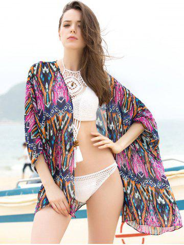 Cheap Ethnic Geometrical 3/4 Sleeve Cover-Up Kimono For Women