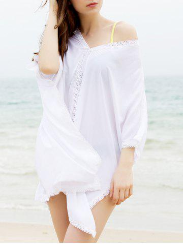 Chic Fashionable Plunging Neck 3/4 Sleeve Cover-Up Dress For Women