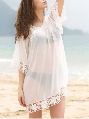 Outfits Fashionable V-Neck 3/4 Sleeve Lace Splicing Cover-Up Dress For Women