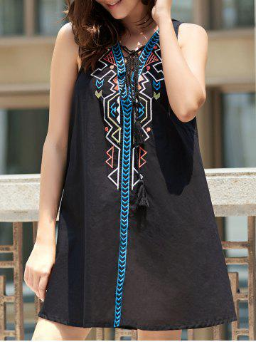 New Sleeveless Geometric Pendant Casual Classy Dress BLACK S