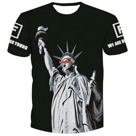 Unique Fashion Men's Pullover Statue of Liberty Printed T-Shirt