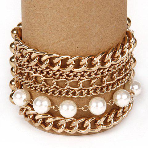 New Stylish Multilayer Faux Pearls Beads Alloy Bracelet For Women - GOLDEN  Mobile