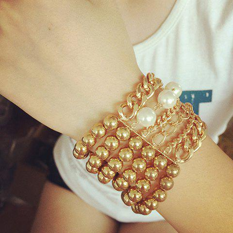Outfits Stylish Multilayer Faux Pearls Beads Alloy Bracelet For Women
