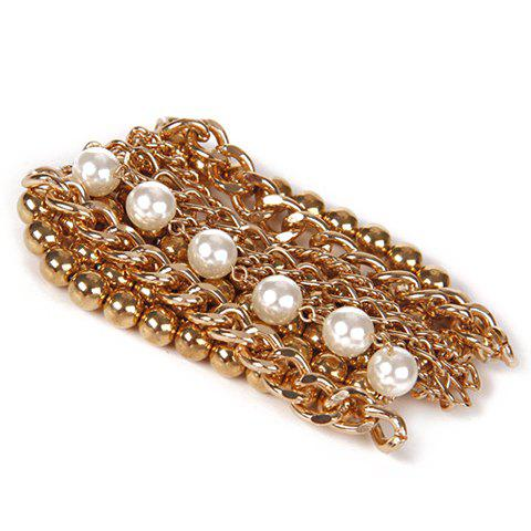 Trendy Stylish Multilayer Faux Pearls Beads Alloy Bracelet For Women - GOLDEN  Mobile
