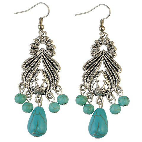 Sale Pair of Stylish Faux Turquoise Leaf Alloy Drop Earrings SILVER