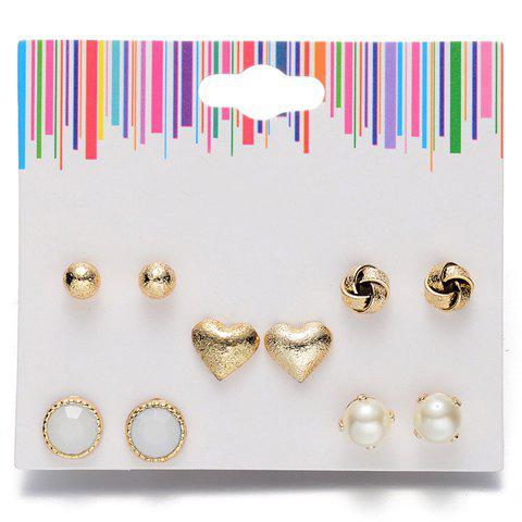 Fancy A Suit of Graceful Faux Pearl Heart Earrings For Women