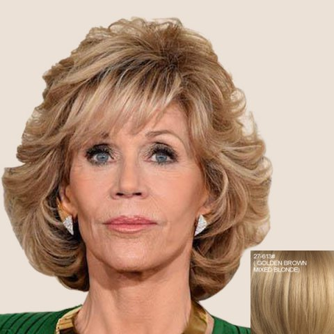 Chic Elegant Short Fluffy Curly Capless Side Bang Real Human Hair Wig For Women