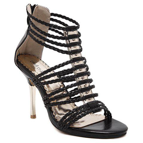 Hot Stylish Zipper and Weaving Design Sandals For Women