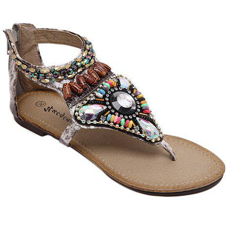 Sale Leisure Beading and Zipper Design Sandals For Women