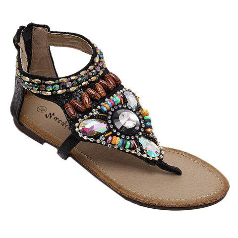Leisure Beading and Zipper Design Sandals For Women - BLACK 38