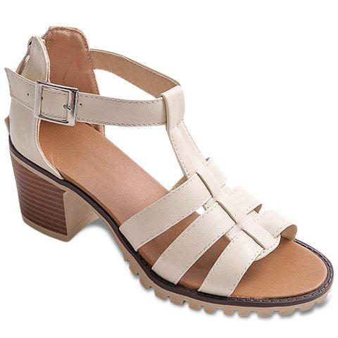 Store Sweet Solid Color and T-Strap Design Sandals For Women