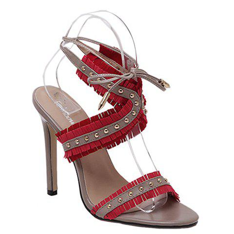 Affordable High Heel Fringe Studs Tie Ankle Sandals