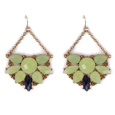 Cheap Pair of Stylish Faux Gems Hollow Out Drop Earrings For Women