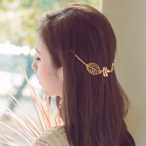 Shops Stylish Leaf Embellished Solid Color Alloy Headband For Women