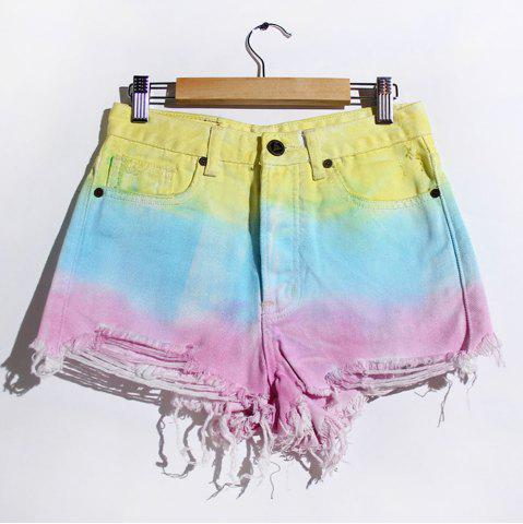 Shops Women's Stylish Bleach Wash Ripped Colorful Shorts - S COLORMIX Mobile