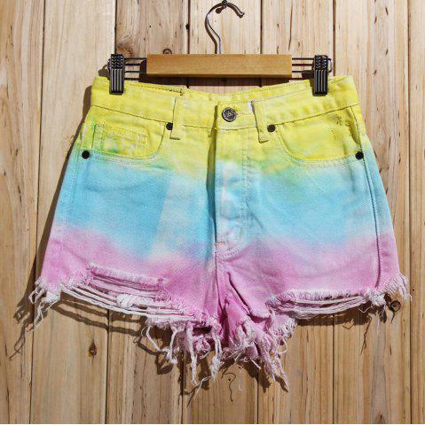 Shop Women's Stylish Bleach Wash Ripped Colorful Shorts - S COLORMIX Mobile