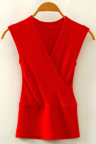 Shops Chic V Neck Sleeveless Solid Color Women's Knitwear