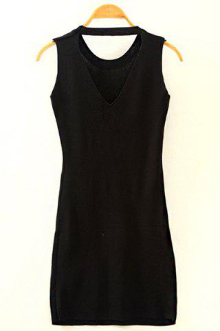 Cheap Chic Round Neck Cut Out Women's Knitted Dress