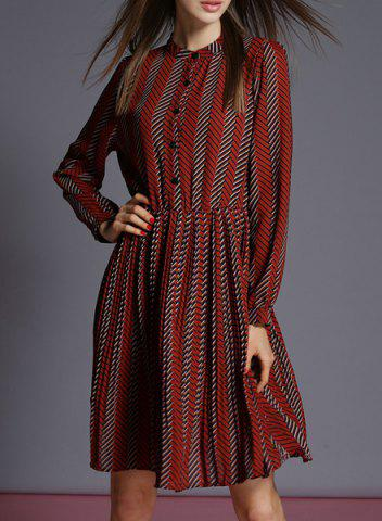 Online Retro Style Stand Collar Long Sleeves Striped Dress For Women