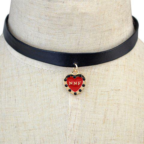 Best Stylish Letters Heart PU Leather Rope Necklace For Women