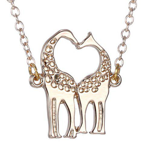Store Cute Heart Kiss Fawn Shape Pendant Necklace For Women