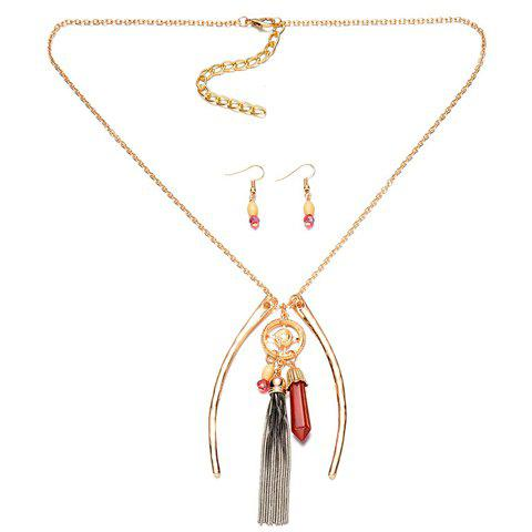 Best A Suit of Graceful Faux Gem Tassel Necklace and Earrings For Women