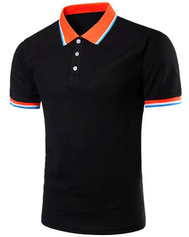 New Color Block Splicing Design Turn-Down Collar Short Sleeve Polo T-Shirt For Men