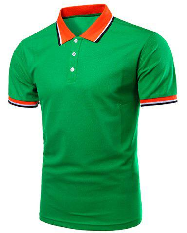 Outfit Color Block Splicing Design Turn-Down Collar Short Sleeve Polo T-Shirt For Men