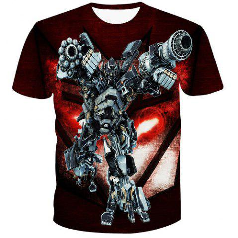 Cheap Fashion 3D Robot Printed Pullover T-Shirt For Men