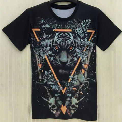 Trendy Casual Round Collar Tiger Printing T-Shirt For Men