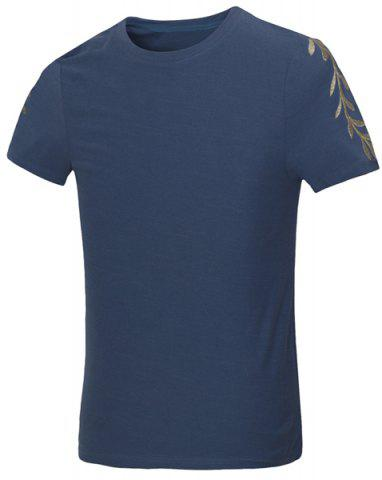 Shops Solid Color Olive Leaf Embroidered Round Neck Short Sleeves Fitted T-Shirt For Men